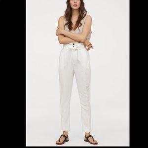New white linen blend paper bag pants